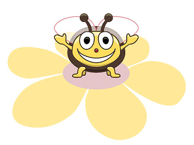 Cute Smiling Bee standing on a flower.