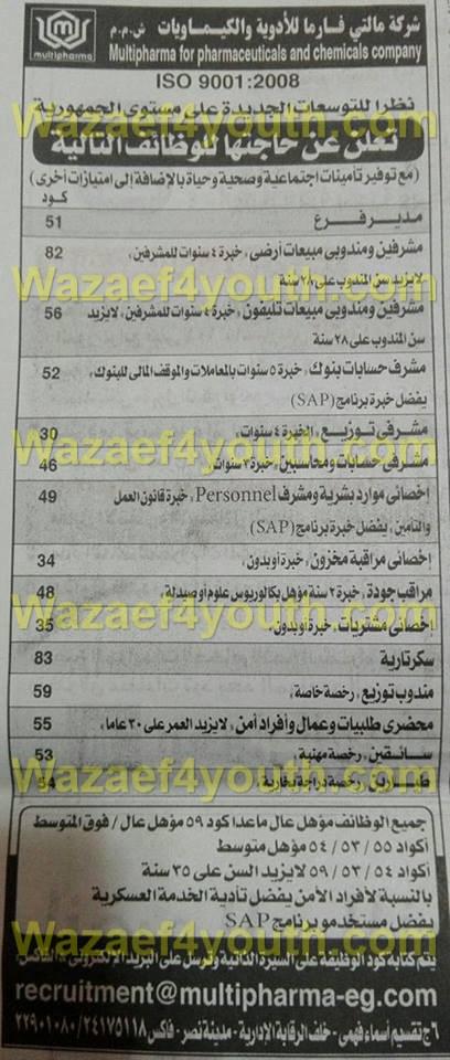 اعلان وظائف شركة مالتي فارما للادوية لجميع المؤهلات منشور في جريدة الاهرام الجمعة 26-02-2016