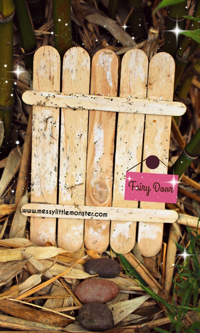 Make a simple fairy door (elf door) from craft sticks : eyfs preschoolers magical pretend play