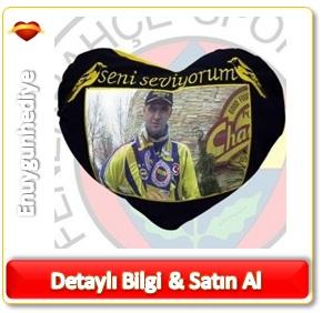 Kişiye Özel Sarı Lacivert Kalp Yastık