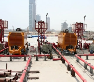 Delivery lines for super high pressure pumps to transport concrete extreme height of the Burj Dubai