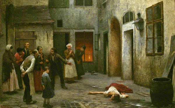 Murder in the house, Jakub Schikaneder, Macabre Art, Macabre Paintings, Horror Paintings, Freak Art, Freak Paintings, Horror Picture, Terror Pictures
