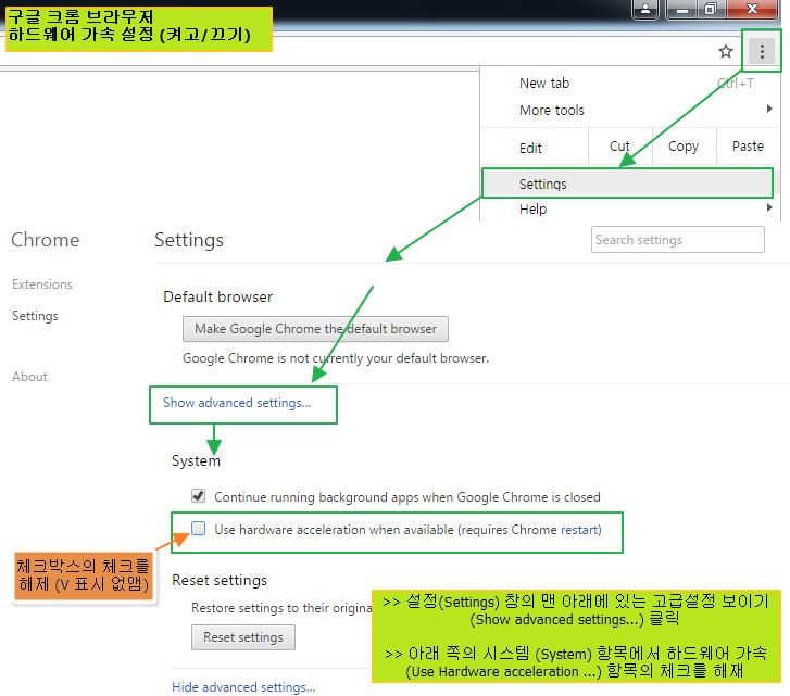 크롬, 파이어폭스 브라우저 하드웨어 가속 설정 (켜고/끄기) 하는 방법