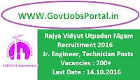 Rajya Vidyut Utpadan Nigam Recruitment 2016