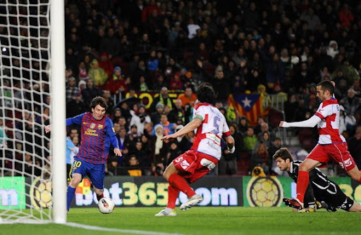 Lionel Messi scores his hat-trick to beat the Barcelona scoring record with 234 goals