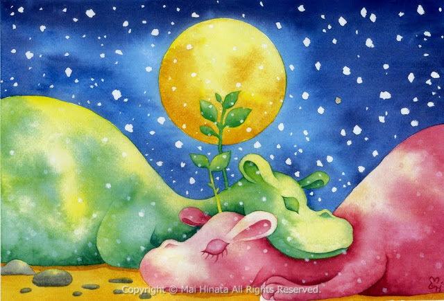 ひなたまい水彩画 月夜の恐竜