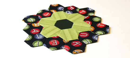 English Paper Piecing Hexagon Flower Block at an Angle