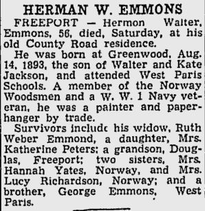 Obituary of Herman Walter Emmons  son of Water and Kate Emmons