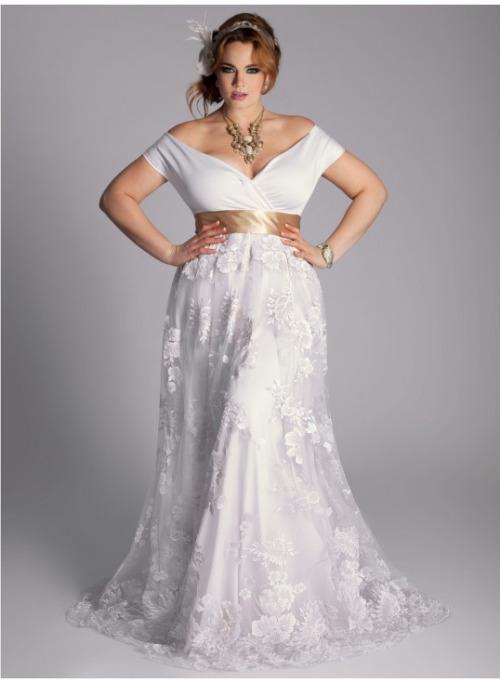 Vestido de novia para gordita con escote
