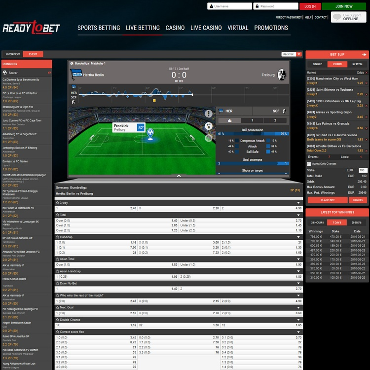 ReadyToBet Live Betting Offers