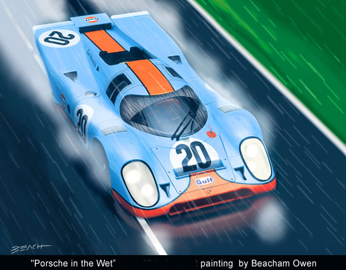 Steve McQueen's Porsche 917 from the Lemans movie art painting by Beacham Owen aka Beach Owen