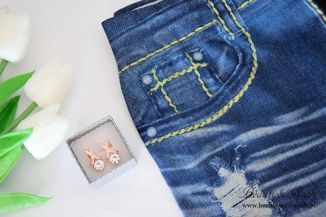 ROSEGAL - skinny jeans/spodnie, torba i kolczyki.