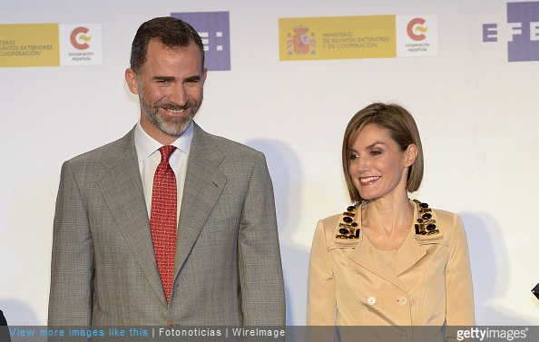 King Felipe of Spain and Queen Letizia of Spain attend the 'Rey de Espana' and 'Don Quijote' Journalism Awards Ceremony at Matadero de Madrid on May 7, 2015 in Madrid, Spain.