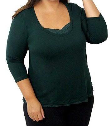 6df17ff01 Blusa Verde Musgo Visco Com Renda G5 Plus Size 54 56 Extra Big Plus Size