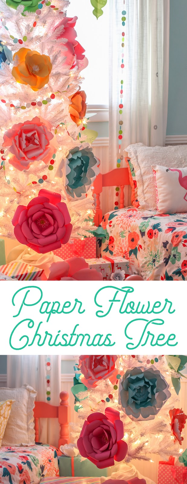 Create a whimsical and colorful Christmas tree decorated with a rainbow of giant paper flowers. Modern Christmas decor. Colorful Christmas decorating ideas. #christmas #christmastree