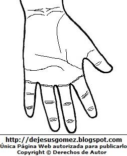 Dibujo de la mano izquierda para colorear, pintar e imprimir (Vista anterior) Palmar de la mano - Delante. Dibujo de la mano de Jesus Gómez