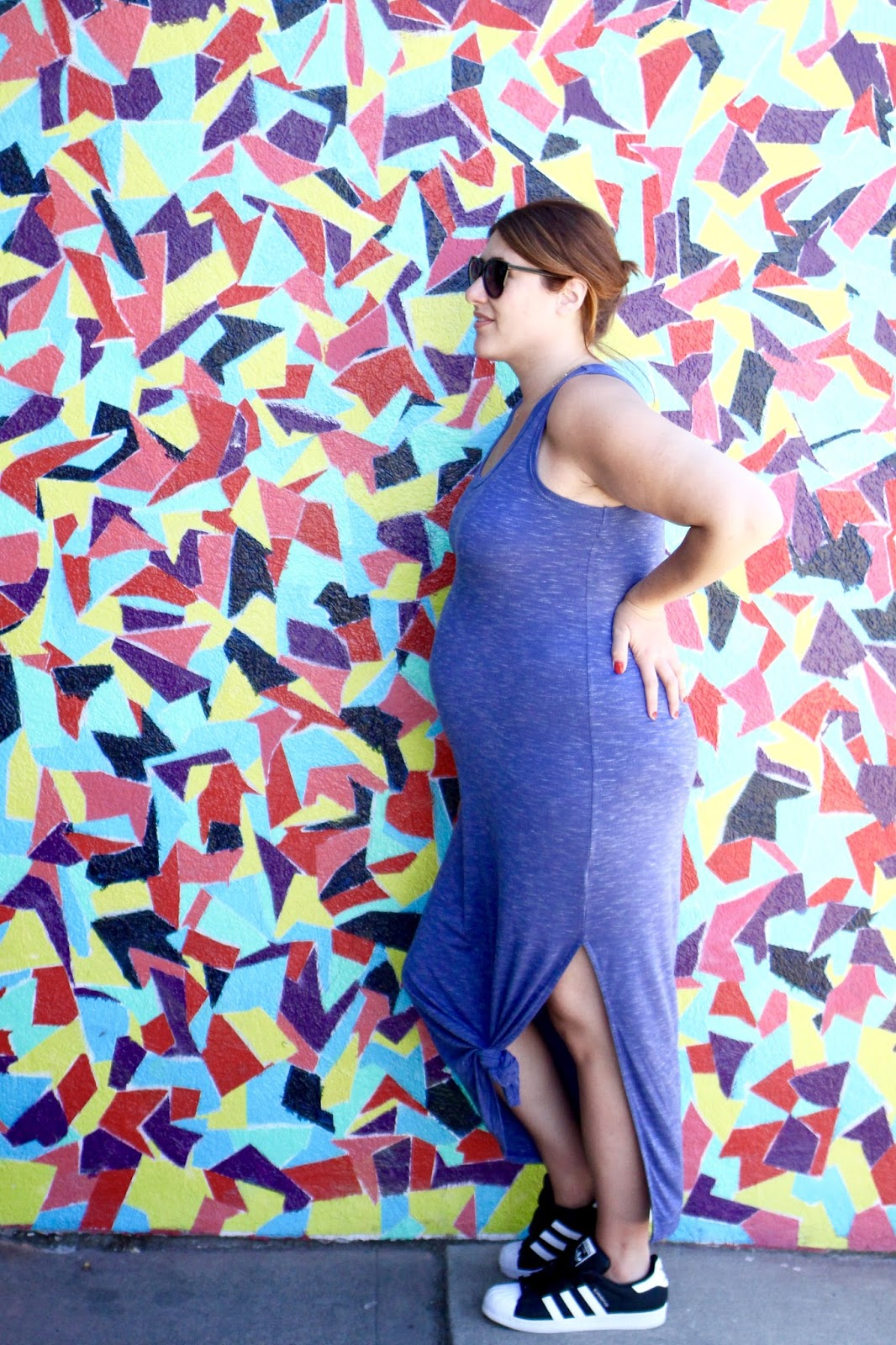 gap maxi, dress blue, easy maternity outfit, adidas and a dress