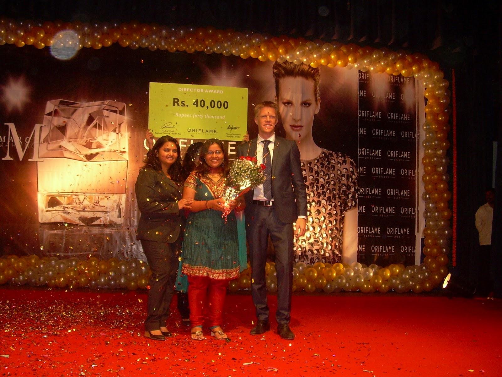 Recognition of Oriflame Director Mrs Jashmi