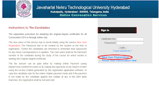 JNTUH OD apply Convocation website