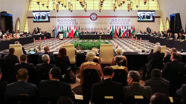 Image Attribute: A picture taken on March 27, 2017 shows a general view of the preparatory meeting before the Arab League's 28th Ordinary Summit at the Dead Sea, Jordan / Source: PRESSTV