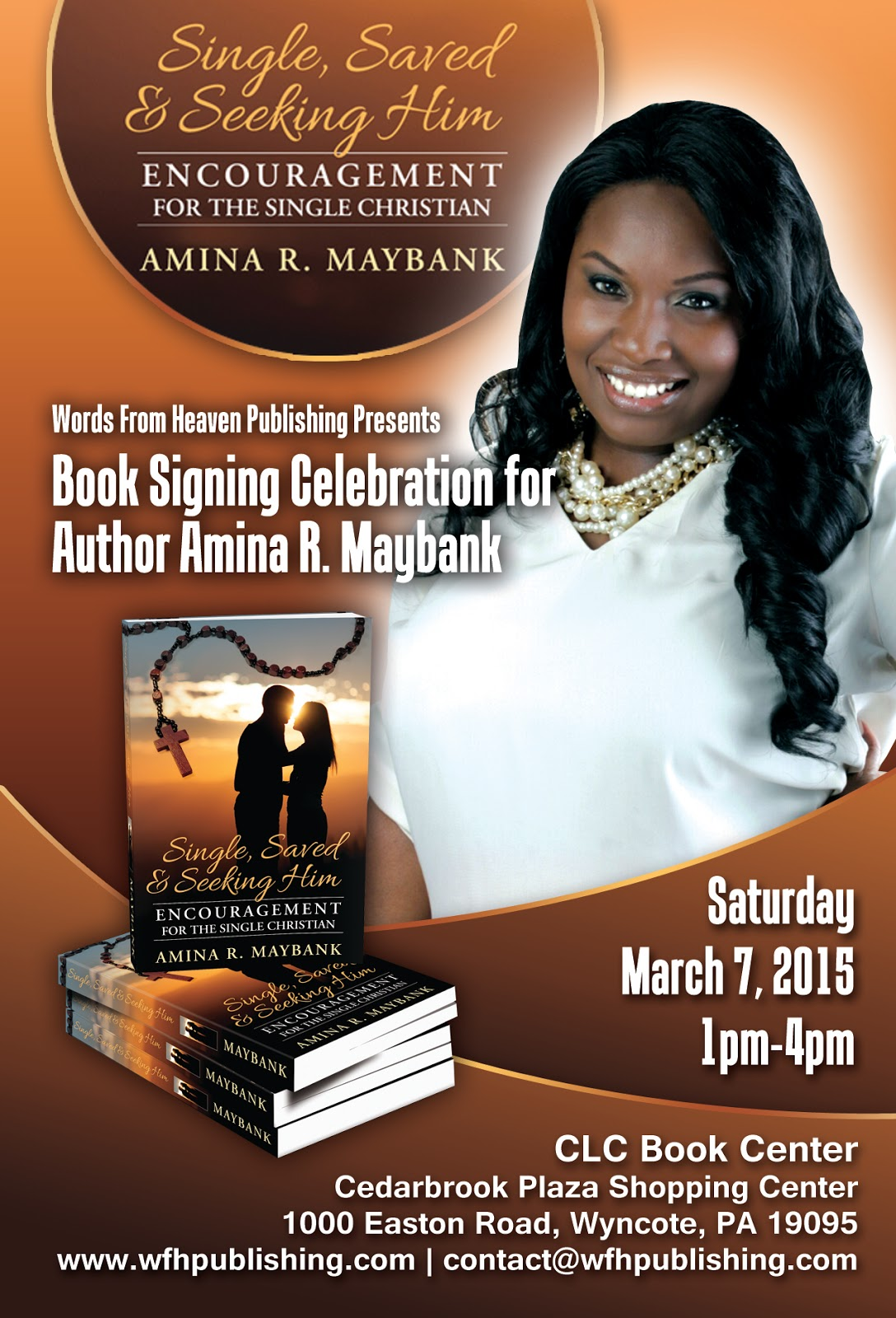 Words by amina book signing celebration for Book signing poster template