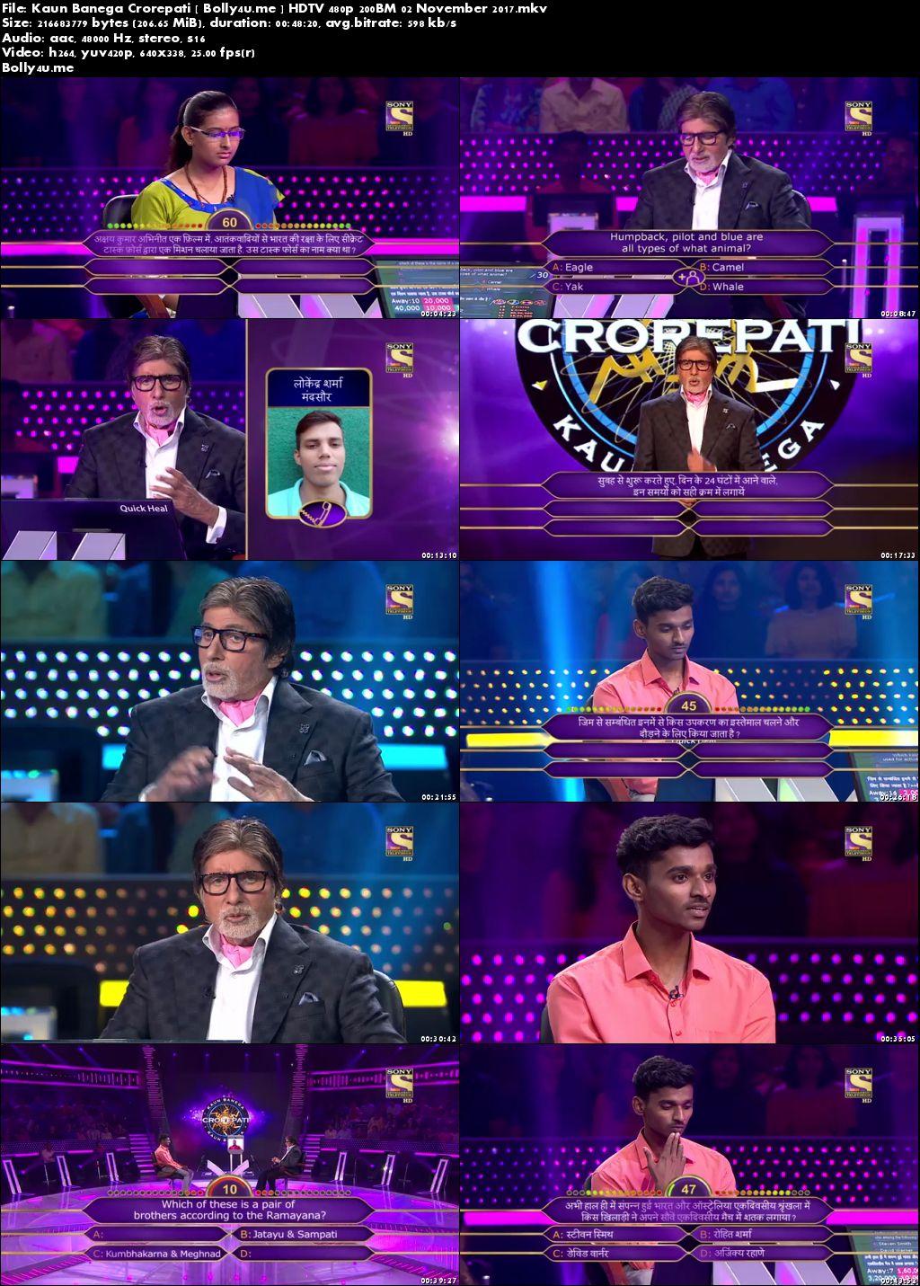 Kaun Banega Crorepati HDTV 480p 200MB 02 November 2017 Download