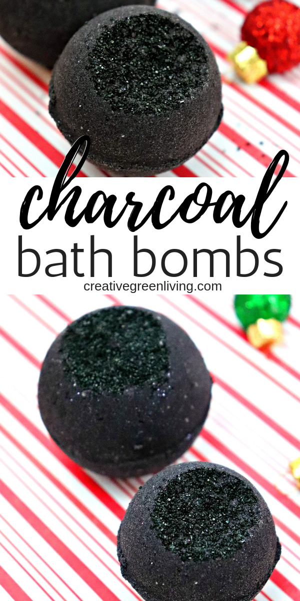 Learn how to make a detoxifying bath bomb recipe with activated charcoal. This DIY bath bomb will give you black bath water just like the Lush secret arts black bath bomb. Using activated charcoal in skin care products is great for your skin. Learn more on Creative Green Living. #creativegreenliving #bathbombs #DIYbathbombs #activatedcharcoal #blackbathbomb #blackbathwater #homemadebeauty #essentialoils