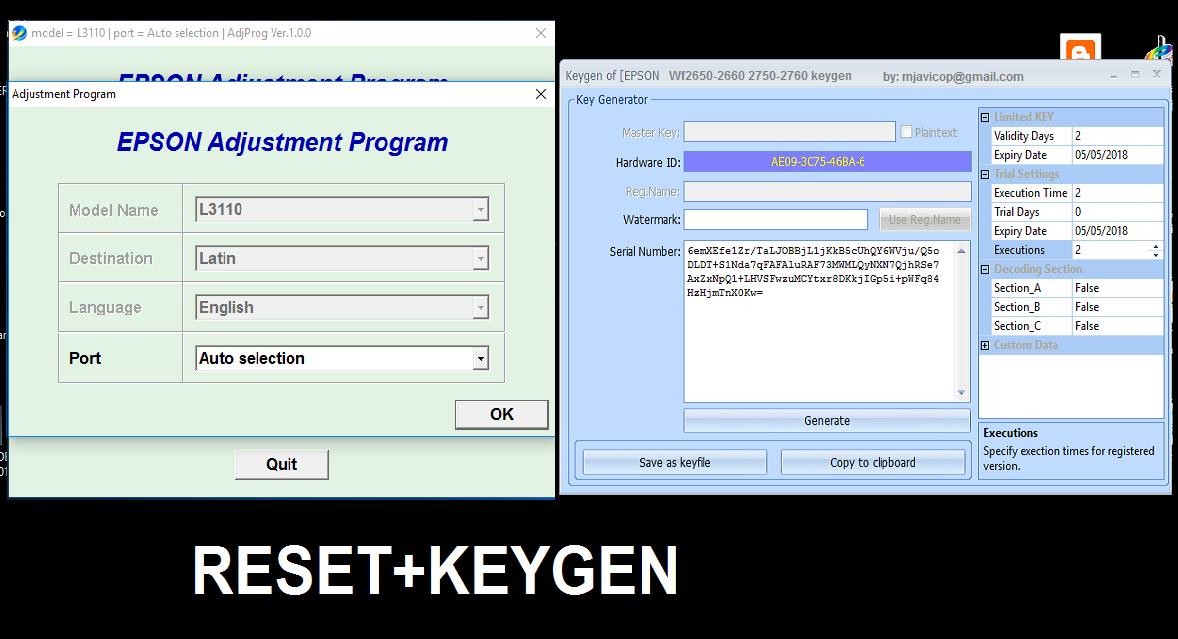 Reset Epson y Canon: Reset epson L3110 30usd with keygen