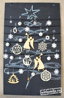 Адвент календарь на 31 день, елочка на доске для мела