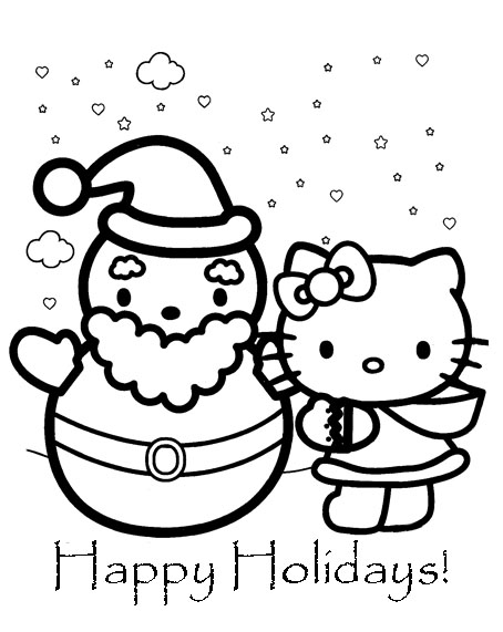 printable coloring pages hello kitty friendship | Free Love Quotes: Hello Kitty Christmas Coloring Pages