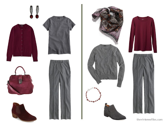 Capsule wardrobe colour palette inspiration - a drop of wine with grey