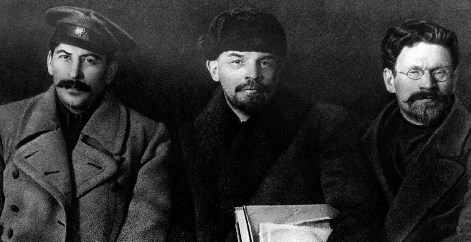 Stalin with Vladimir Lenin and Mikhail Kalinin. 1919.