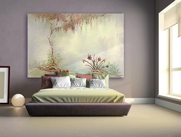 tete de lit déco toile géante tendue sur baguettes de bois