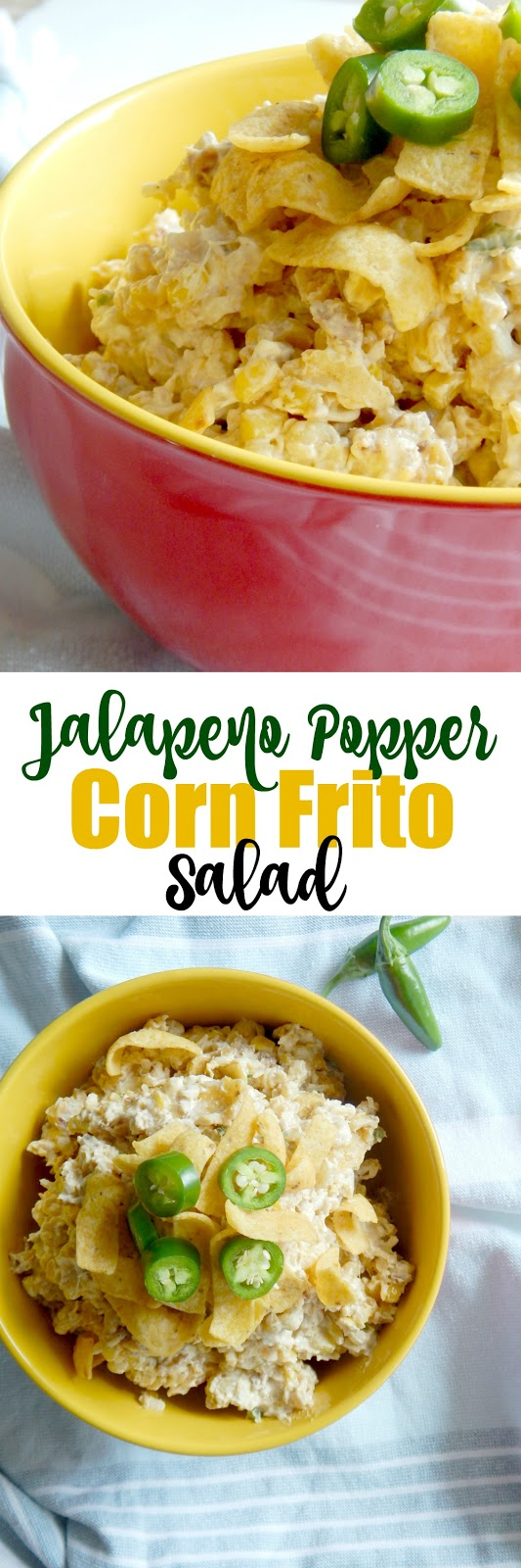 Jalapeno Popper Corn Frito Salad...your next summer side dish!  Fresh jalapenos, corn and bacon all comes together in a creamy dish and topped with Fritos! (sweetandsavoryfood.com)