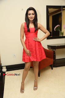 Actress Catherine Tresa Latest Pos in Red Short Dress at Intex Air Conditioners Launch  0033.jpg