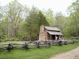 The John Oliver Place. A classic log cabin dating back to around 1820.