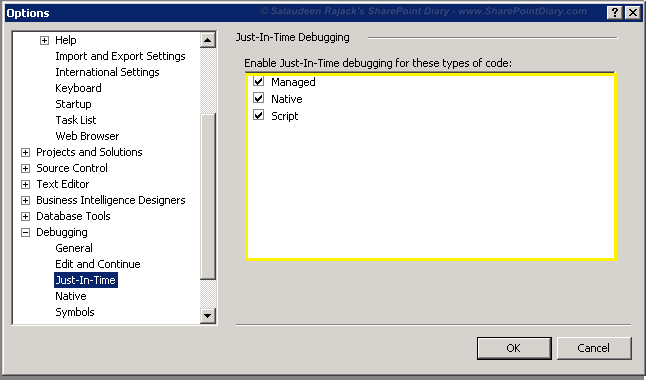 How to disable visual studio Just-In-Time Debugger