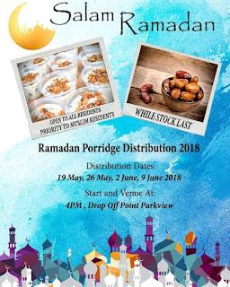 Source: Facebook, Bedok Reservoir Punggol-Parkview RC, poster for Ramadhan porridge distribution.