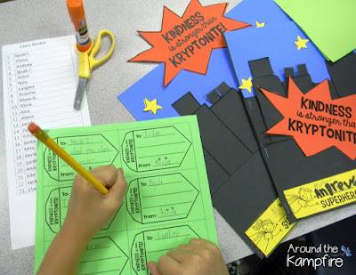 Superhero Kindness Activity~Fill a friend's mailbox with kind words of Kryptonite!