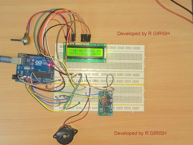Assembled prototype for Arduino Digital Clock
