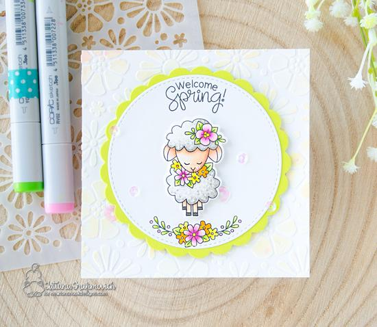Welcome Spring Card with Video by Tatiana Trafimovich | Woodland Spring Stamp Set and Bold Blooms Stencil by Newton's Nook Designs #newtonsnook #handmade