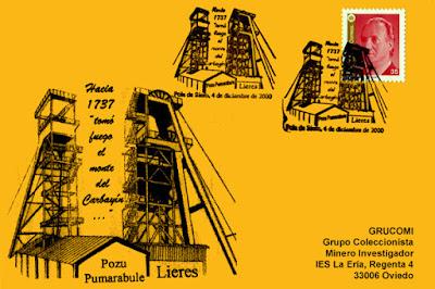 Tarjeta del matasellos dela Exposición de Coleccionismo minero de GRUCOMI  en Pola de Siero, homenaje a los pozos Pumarabule y Lieres