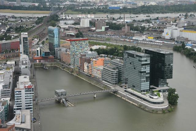 Rheinturm Dusseldorf port view