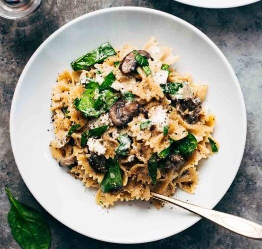 Date Night Mushroom Pasta with Goat Cheese #vegetarian #recipe