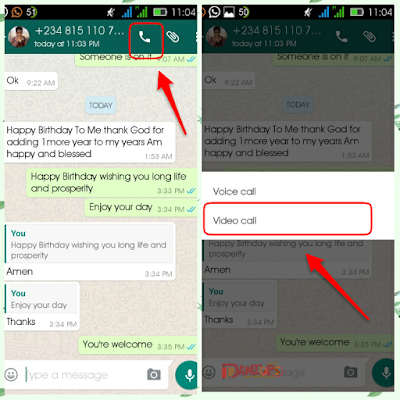 Whatsapp video call settings