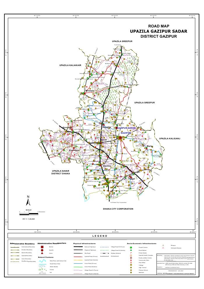 Gazipur Sadar Upazila Road Map Gazipur District Bangladesh