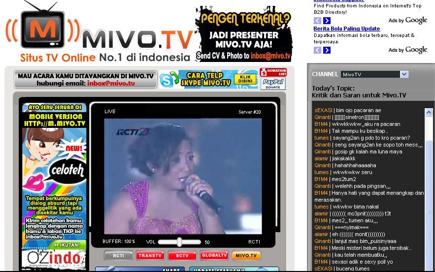 Live Streaming Rcti: Pasang Mivo TV Di Blog Mu, TV Online Indonesia