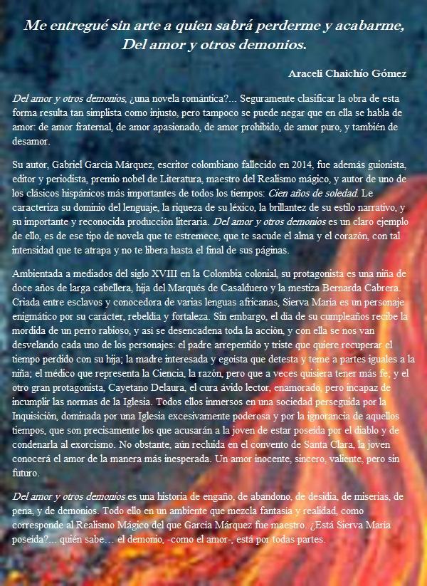 ImaginaBiblioteca: RESEÑA DEL AMOR Y OTROS DEMONIOS, DE ...  Irene