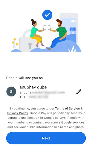 enter phone email google pay
