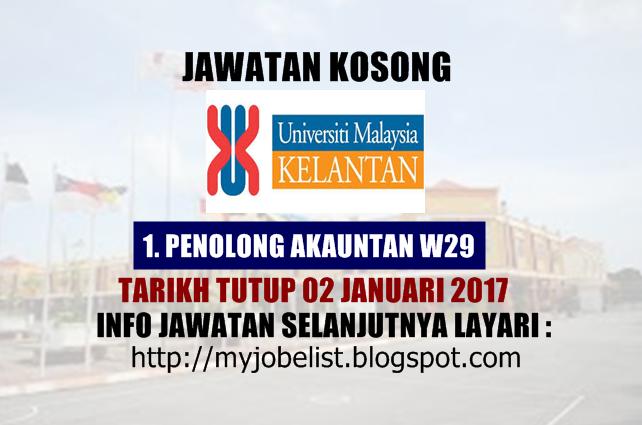 Jawatan Kosong Universiti Malaysia Kelantan (UMK) Januari 2017